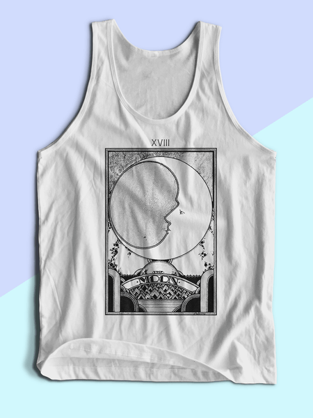 Mens Moon Tarot Card Tank Top | Mens Retro Moon Tarot Shirt - Clarafornia