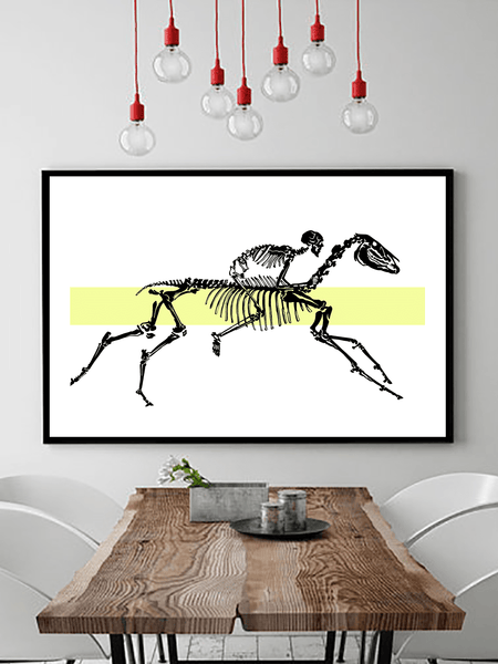 Horse and Rider Skeleton Poster Print | Horse Wall Art - Clarafornia