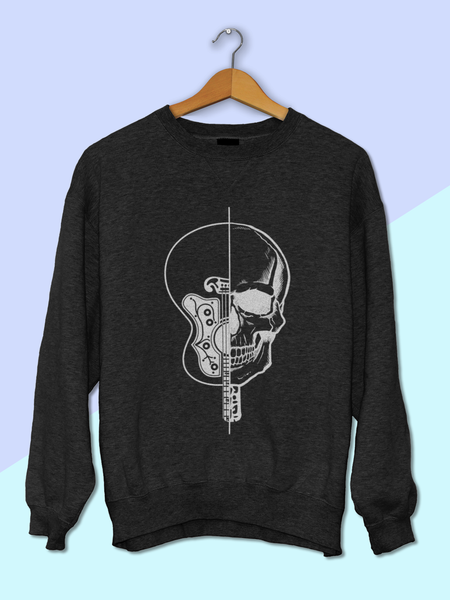 Womens Skull and Guitar Sweatshirt | Womens Halloween Sweatshirt - Clarafornia