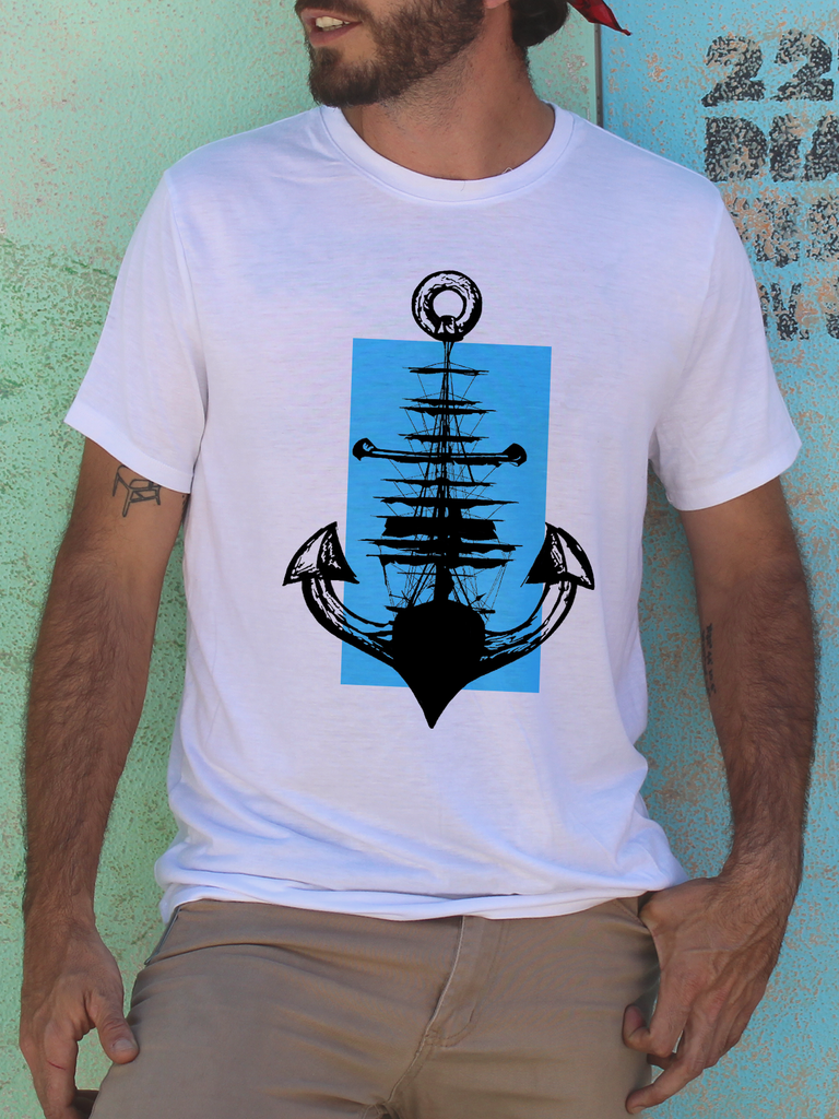 Mens Anchor and Ship T Shirt | Mens Sailor Shirt - Clarafornia