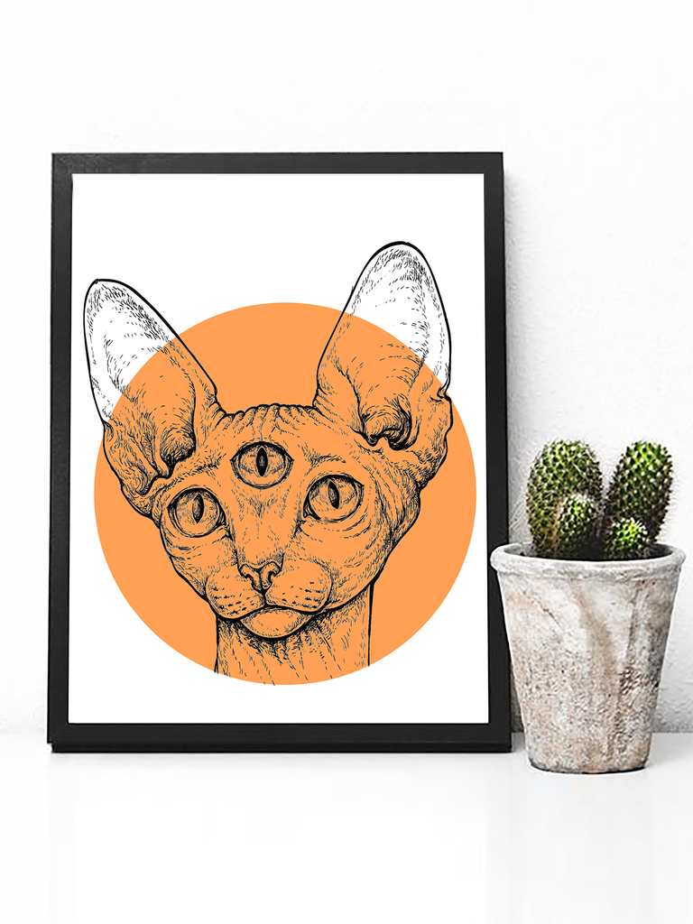 Third Eye Sphynx Cat Poster Print - Clarafornia