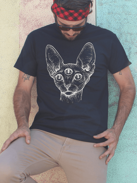 Mens Third Eye Sphynx T Shirt | Mens Egyptian Cat Shirt