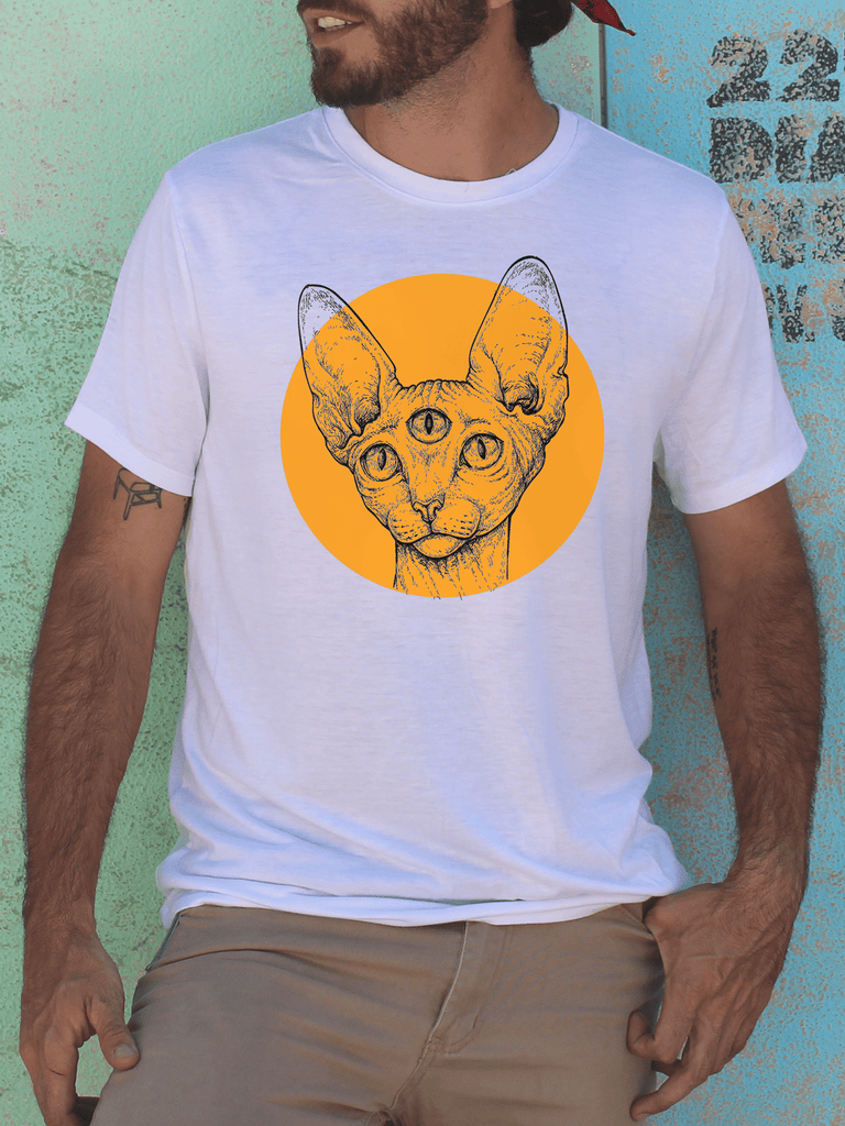 Mens Graphic T Shirt - Graphic Tee Shirts for Men - Graphic T Shirts - Graphic T Shirt Sale - Mens Festival Shirt - Mens Festival T Shirts - Mens Urban Fashion - Mens Street Wear - Festival Gear - Third Eye Sphynx Cat - Sphynx Cat Shirt - Third Eye Shirt - Yoga Shirt - Yoga T Shirt - Mens Cat Shirts - Trippy Cat Shirts for Men - Colorblock T Shirts for Men - Retro Aesthetic - Retro Fashion