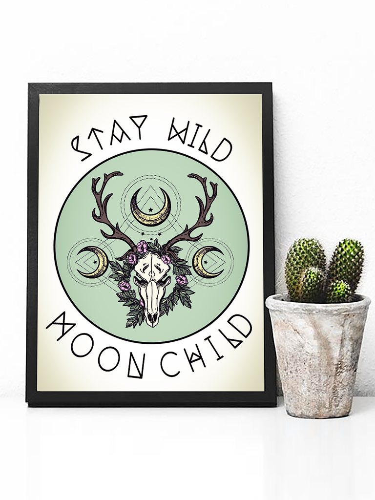 Poster Print - Boho Wall Art - Boho Decor - Bohemian Decor - Art Print - Hippie Wall Art - Hippie Poster - Street Art - Boho Wall Art - Longhorn Poster - Longhorn Skull Poster - Hippie Decor - Hippie Poster - Animal Lover Gifts - Animal Lovers Poster - Wildlife Lovers Poster - Wildlife Decor - Wildlife Print - Nature Print - Nature poster - Nature Lovers Gift - Stay Wild Moon Child - Stay Wild Moon Child Poster - Boho Poster With Sayings - Moon Child Decor - Tumblr Art - Tumblr Decor - Tumblr Poster