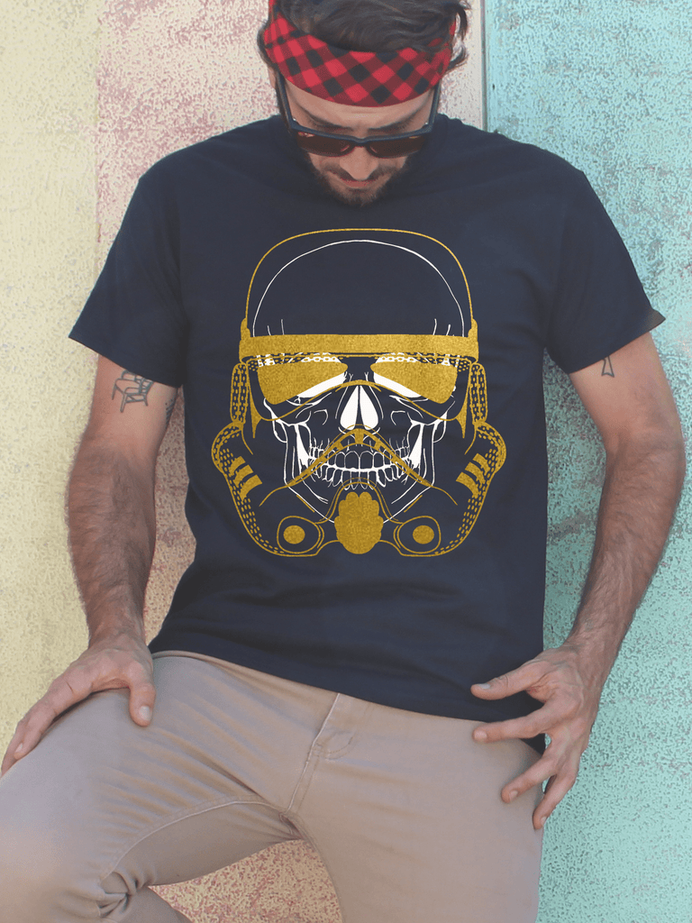 Mens Stormtrooper Mask and Skull T Shirt | Mens Star Wars Shirt - Clarafornia