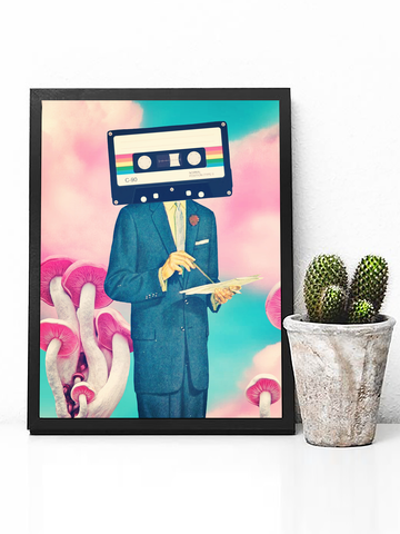Cassette Tape Poster Print | Trippy Mushroom Wall Art - Clarafornia