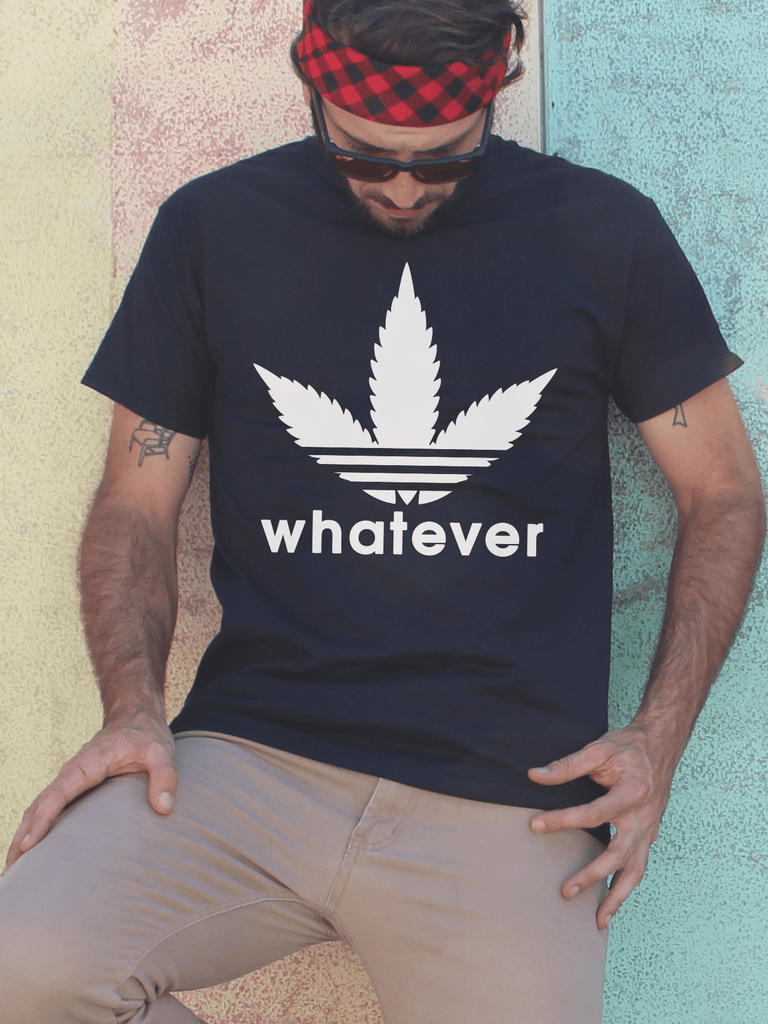 Mens Whatever Weed Leaf T Shirt | Mens Adidas Parody Shirt - Clarafornia