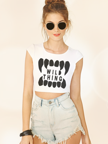 Womens Wild Thing Crop Top | Animal Fang Shirt