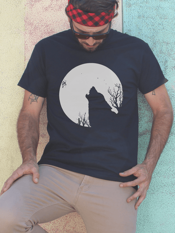 Mens Wolf and Moon T Shirt | Mens Wildlife Shirt