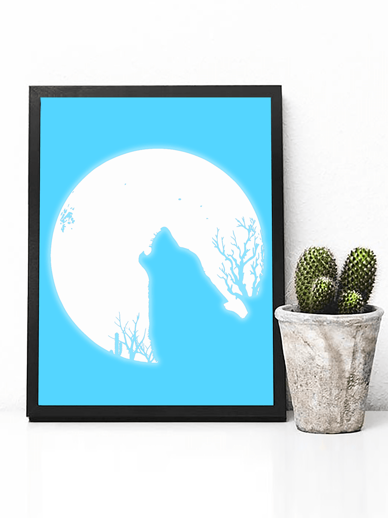 Howling Wolf + Full Moon Poster Print | Bohemian Wildlife Wall Art