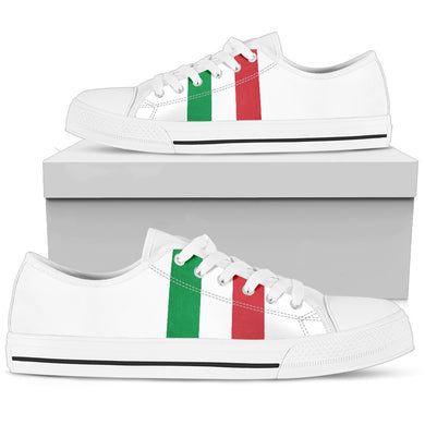 Italy Flag Men's Low Top White Shoe