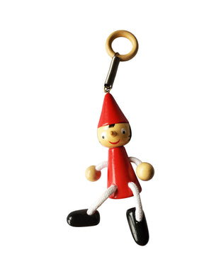 Bouncing Wooden Pinocchio Toy with Spring - Red