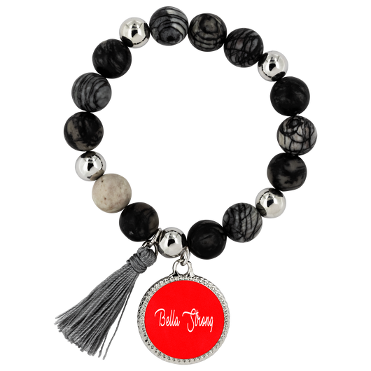 Bella Strong Lyric Style Bracelet with Natural Onyx and Dragon Vein Stone Beads