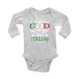 God Made Me Italian Long Sleeve Baby Onesie