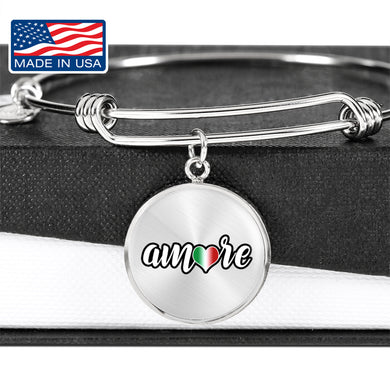 Amore with Transparent Circle Charm Bangle in Gold & Stainless Steel