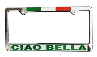 Ciao Bella License Plate Silver Frame with Flag