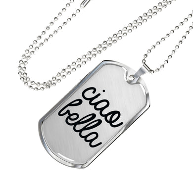 Ciao Bella Dog Tag Pendant in Black with Military Chain