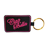 Ciao Bella Keychain - Black with Pink Embroidery