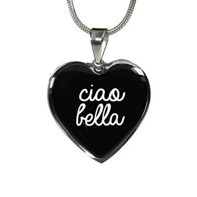 Ciao Bella with Black Heart Pendant Necklace