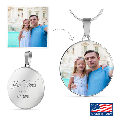 Custom Photo Silver Circle Necklace