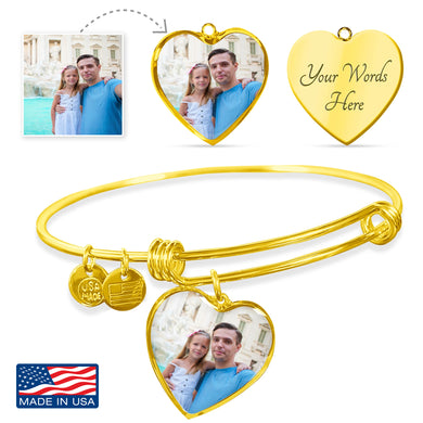 Custom Photo Gold Heart Charm Bangle Bracelet