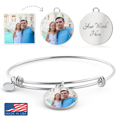 Custom Photo Silver Circle Charm Bangle Bracelet