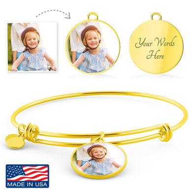 Custom Photo Gold Circle Charm Bangle Bracelet