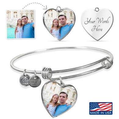Custom Photo Silver Heart Charm Bangle Bracelet