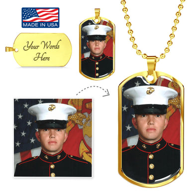 Custom Photo Gold Dog Tag