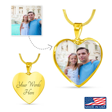 Custom Photo Gold Heart Necklace