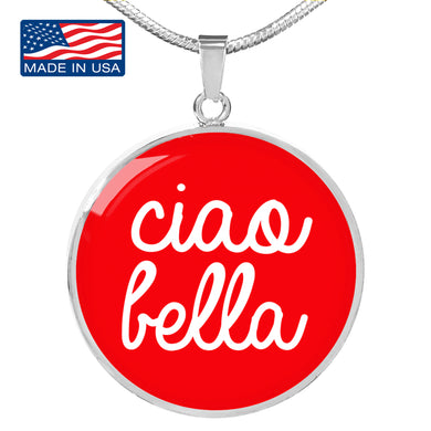 Ciao Bella with Red Circle Pendant Necklace in Gold & Stainless Steel
