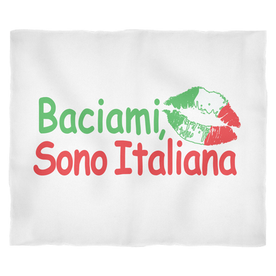 Kiss Me I'm Italian Fleece Blanket