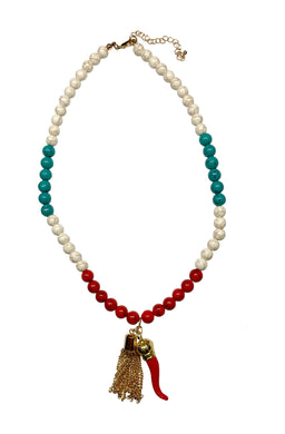 Italy Themed Gold Stone Beaded Necklace