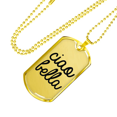 Gold Ciao Bella Dog Tag Pendant in Black with Military Chain