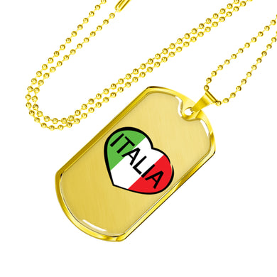 Gold Italia Dog Tag Pendant with Military Chain