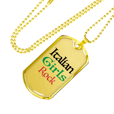Gold Italian Girls Rock Dog Tag Pendant in Black with Military Chain
