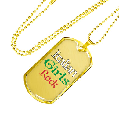 Gold Italian Girls Rock Dog Tag Pendant with Military Chain