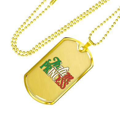 Gold Italian Princess Dog Tag Pendant with Military Chain