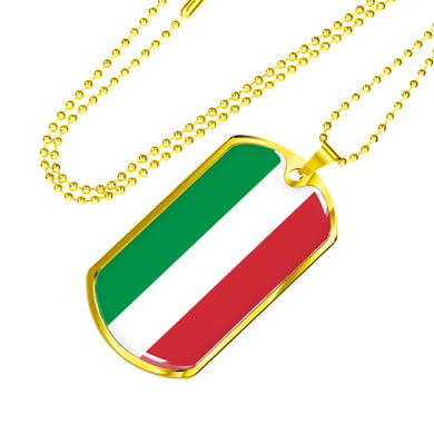 Gold Italy Flag Dog Tag Pendant with Military Chain