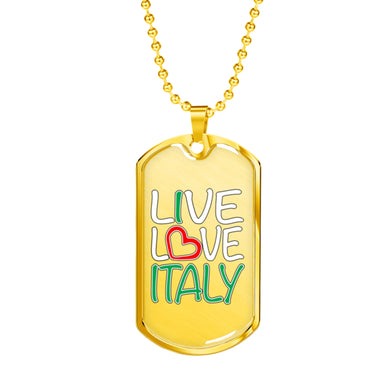 Gold Live Love Italy Dog Tag Pendant with Military Chain