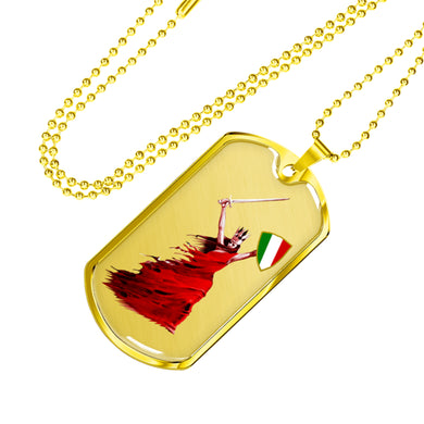 Gold Woman Warrior Dog Tag Pendant with Military Chain