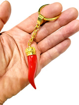 Italian Horn Keychain - Red with Gold Chain