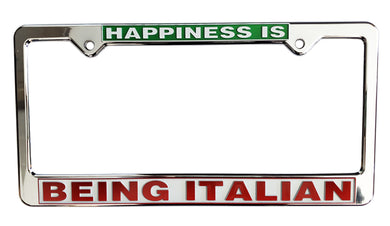 Happiness is Being Italian License Plate Silver Frame