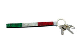 Italian Flag Jeweled Keychain