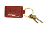 Italia Keychain - Red Embossed Leather with Flag