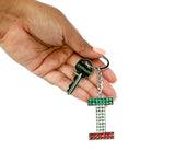 "Italian Flag Jeweled Letter ""I"" Keychain"