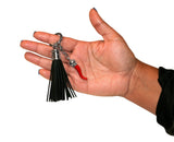 Italian Red Horn Keychain with Black Leather Tassel
