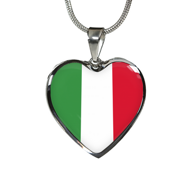 Italian Flag with Heart Pendant Necklace