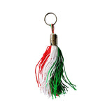 "Italian Flag 6"" Tassel Keychain with Italia Engraving"
