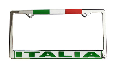 Italia License Plate Silver Frame with Flag